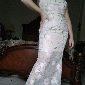 Evening gown dress mesh floral mermaid style